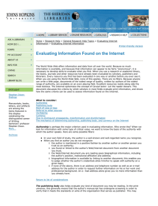 Evaluating Information Found on the Internet