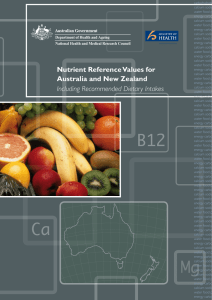 Nutrient Reference Values for Australia and New