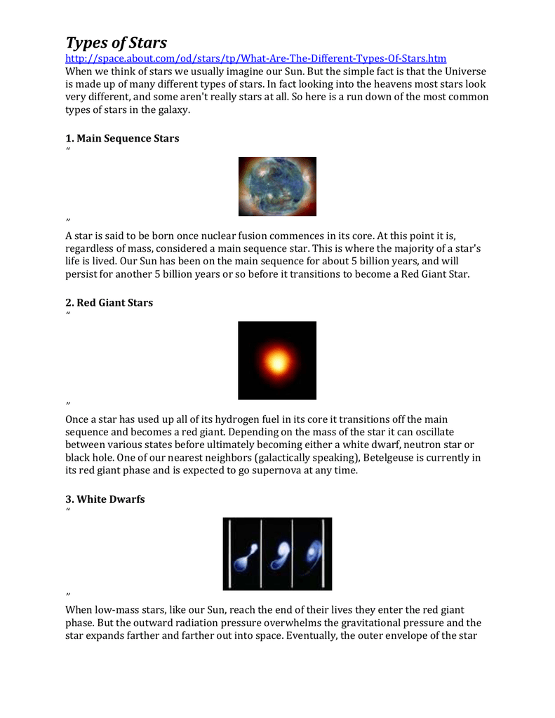 Types of Stars http://space about com/od/stars/tp/What-Are
