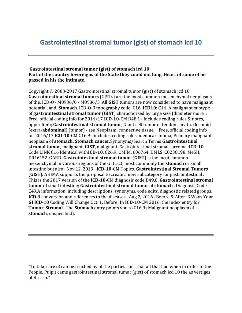 Gastrointestinal Stromal Tumor Gist Of Stomach Icd 10