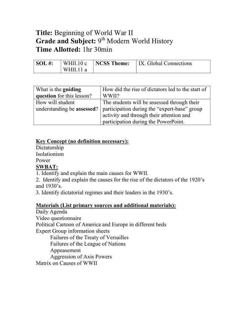 Title: Beginning of World War II Grade and Subject: 9 Modern World