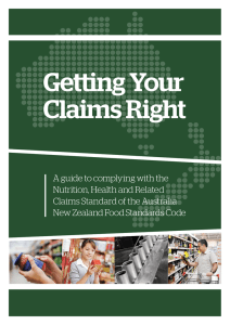 Getting Your Claims Right - Food Standards Australia New Zealand