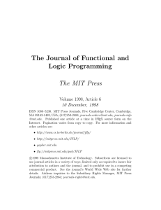 The Journal of Functional and Logic Programming The MIT Press