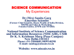 Dr. Sunita Garg - Science Communication