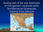 Scaling laws of the size distribution of monogenetic volcanoes within