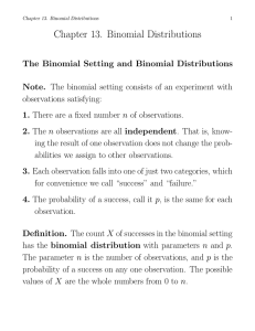 Chapter 13. Binomial Distributions