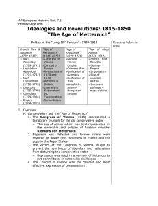 "Ideologies and Revolutions: 1815-1850 ""The Age"