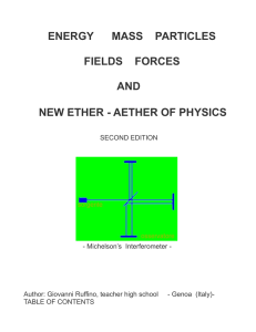 energy mass particles fields forces and new ether