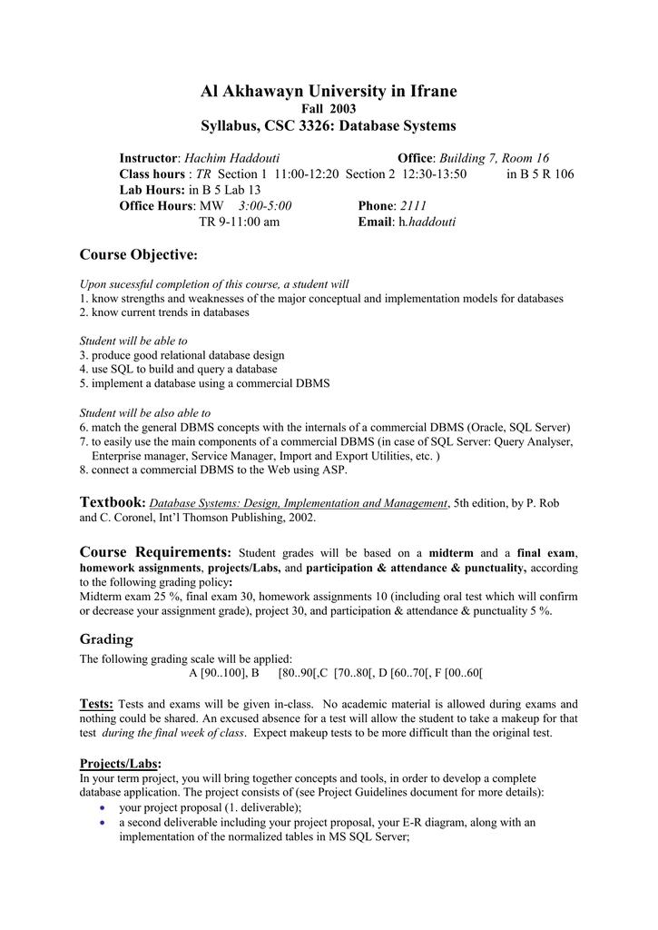 Syllabus Csc 5301 Advanced Databases
