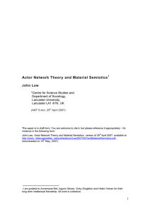 Actor Network Theory and Material Semiotics