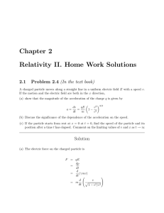 Chapter 2 Relativity II. Home Work Solutions
