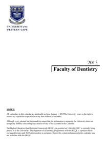 2015 Faculty of Dentistry - University of Western Cape