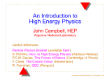 An Introduction to High Energy Physics