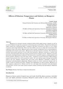 Effects of Siltation, Temperature and Salinity on Mangrove Plants