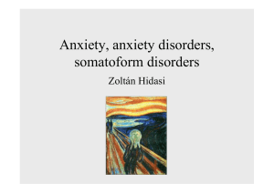 Anxiety, anxiety disorders, somatoform disorders