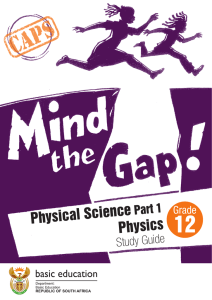 Physical Science Physics - Department of Basic Education