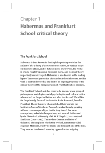 Chapter 1 Habermas and Frankfurt School critical theory