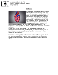 Heart attack A heart attack (myocardial infarction) occurs when the