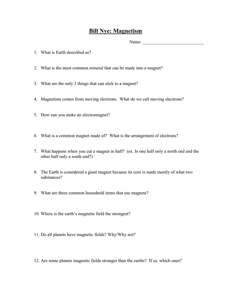 Uncategorized Magnetism Worksheets bill nye magnetism worksheet jannatulduniya com free atidentity com