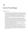 13 CHAPTER Social Psychology Chapter Preview Social