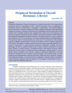 Peripheral Metabolism of Thyroid Hormones: A Review
