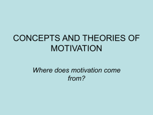 CONCEPTS AND THEORIES OF MOTIVATION