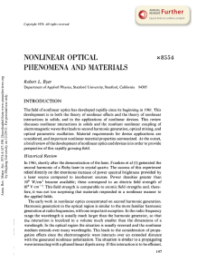 Nonlinear Optical Phenomena and Materials