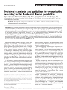 Technical standards and guidelines for reproductive screening in