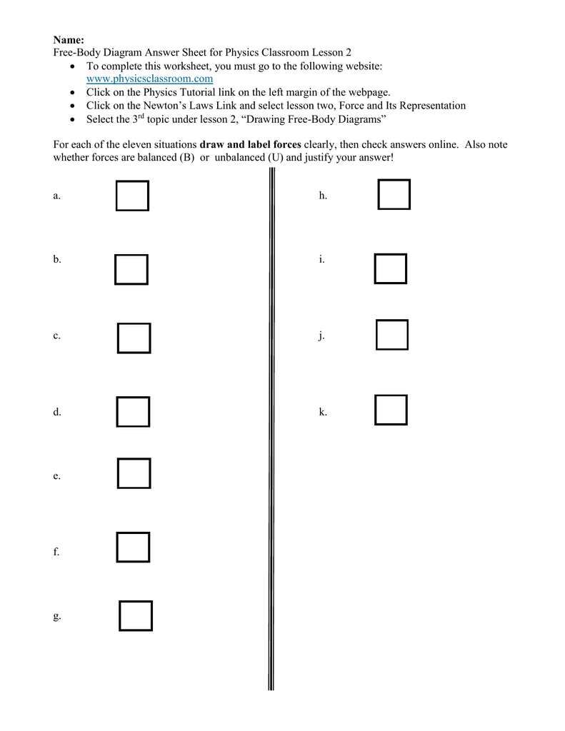 Free body diagram answer sheet for physics classroom lesson 2 pooptronica