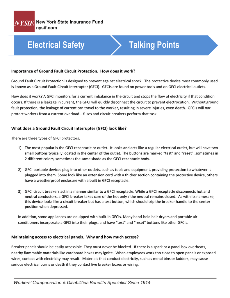 Electrical Safety Talking Points How To Test Ground Fault Circuit Interrupter Gfci
