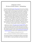 Temporary Lecturer - Anthropology - University of California San