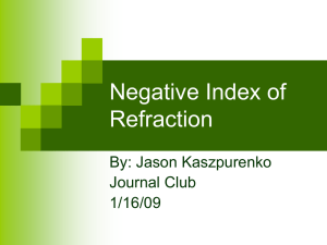 Negative Index of Refraction