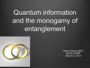Quantum computing and the monogamy of entanglement