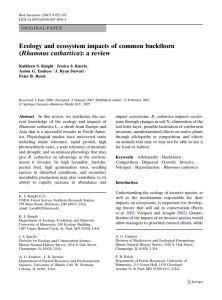 Ecology and ecosystem impacts of common buckthorn (Rhamnus