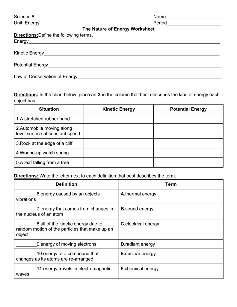The Nature of Energy Worksheet