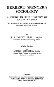 HERBERT SPENCER`S SOCIOLOGY