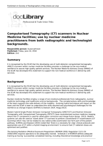 Computerised Tomography (CT) scanners in Nuclear Medicine