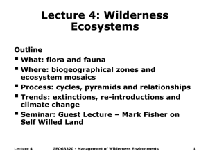 Lecture 4: Wilderness Ecosystems