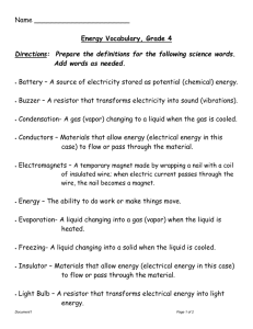 Energy Vocabulary, Grade 4