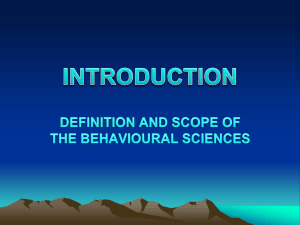 DEPARTMENT OF BEHAVIOURAL SCIENCES B.SC (HUMAN