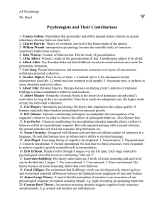 Psychologists and Their Contributions - Har