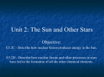 Unit 2: The Sun and Other Stars