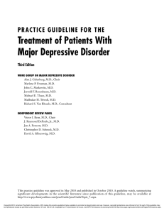 Treatment of Patients With Major Depressive Disorder