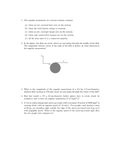 1. The angular momentum of a system remains constant (a) when no