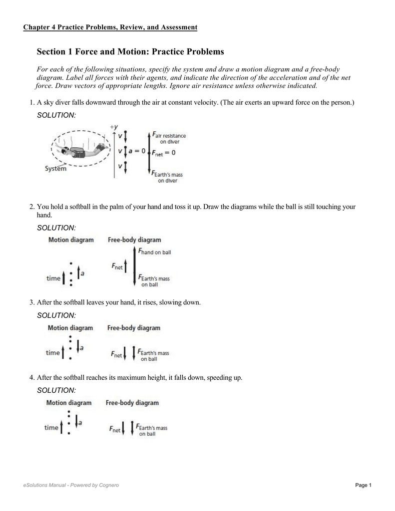Section 1 Force and Motion: Practice Problems
