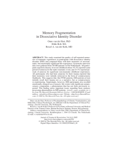 Memory Fragmentation in Dissociative Identity Disorder