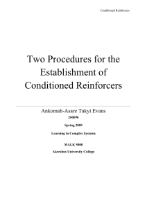 Two Procedures for the Establishment of Conditioned Reinforcers