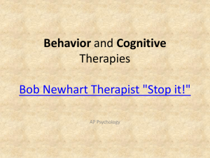 1 Behavior and Cognitive Therapies