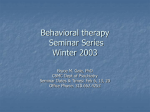Behavior Modification Seminar Series Winter 2003