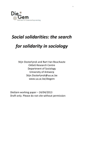 Social solidarities: the search for solidarity in
